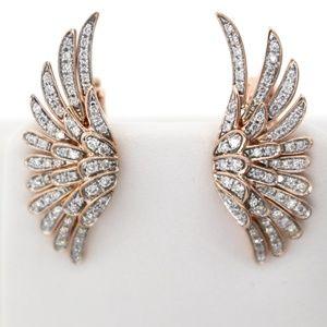 Diamond Angel Wings Earring 14kt Solid Rose Gold
